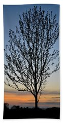 Tree At Sunset Beach Towel
