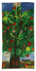 Tree In The Blue Room Beach Towel by Mary Carol Williams