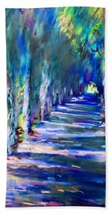 Tree Lined Road Beach Towel