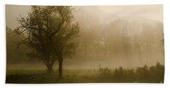 Trees And Fog Beach Towel