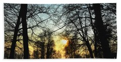 Trees And Sun In A Foggy Day Beach Towel