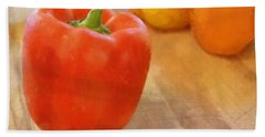 Tri Colored Peppers Beach Towel
