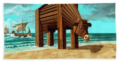 Trojan Cow Beach Sheet by Russell Kightley