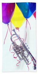 Trumpet Lifted By Balloons Beach Towel