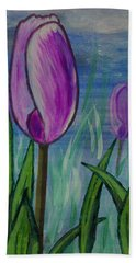 Tulips In The Mist Beach Towel by Mick Anderson