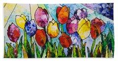 Tulips On Parade Beach Sheet