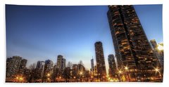 Twilight In Chicago Beach Towel