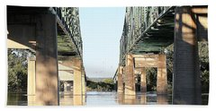 Beach Towel featuring the photograph Twin Bridges by Elizabeth Winter
