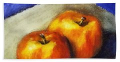 Two Apples With Blue Beach Towel