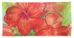 Beach Sheet featuring the painting Two Hibiscus Blossoms by Carla Parris