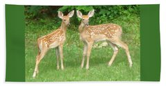 Two Little Deer Beach Towel by Patricia Overmoyer