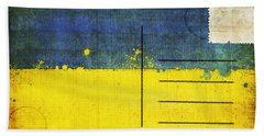 Ukraine Flag Postcard Beach Towel