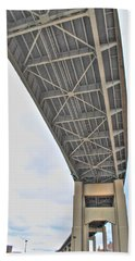 Beach Towel featuring the photograph Under The Skyway by Michael Frank Jr