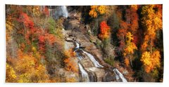 Upper Whitewater Falls Beach Towel by Lynne Jenkins
