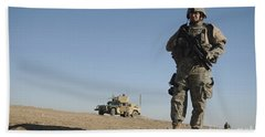 U.s. Army Soldier Standing Watch Beach Towel