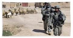 U.s. Army Soldiers Providing Security Beach Towel