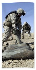 U.s. Marines Working With U.s. Navy Beach Towel