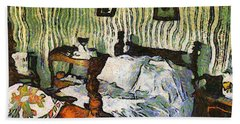 Beach Towel featuring the painting Van Gogh's Bedroom by Mario Carini