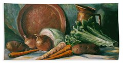 Beach Towel featuring the painting Vegetable Melody by Nancy Griswold