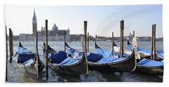 Beach Towel featuring the photograph Venice Gondolas by Rebecca Margraf