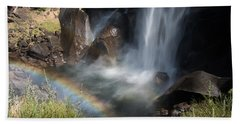 Vernal Falls Rainbow On Mist Trail Yosemite Np Beach Sheet