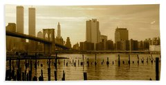 View From Brooklyn Bridge Park Beach Towel by Mark Gilman
