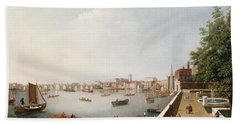 View Of The River Thames From The Adelphi Terrace  Beach Towel by William James