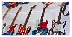 Beach Sheet featuring the photograph Vintage American Flag Guitars Art Prints by Valerie Garner