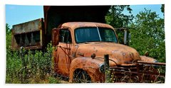 Beach Towel featuring the photograph Vintage Old Time Truck by Peggy Franz