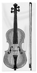 Violin And Bow Beach Towel