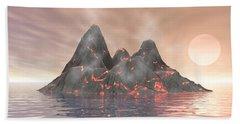 Beach Towel featuring the digital art Volcano Island by Phil Perkins