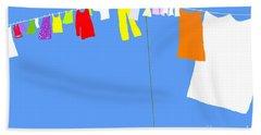 Beach Towel featuring the digital art Washing Line Simplified Edition by Barbara Moignard