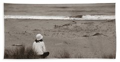 Watching The Ocean In Black And White Beach Towel