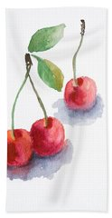 Watercolor Cherry  Beach Towel