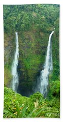 Beach Sheet featuring the photograph waterfall in Laos by Luciano Mortula