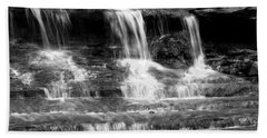 Waterfall Trio At Mcconnells Mill State Park In Black And White Beach Sheet