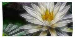 Waterlily In Pseudo-fractal Beach Towel by Lynne Jenkins