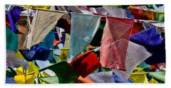 Beach Towel featuring the photograph Waving Prayer Flags by Don Schwartz