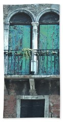 Weathered Venice Porch Beach Towel by Tom Wurl