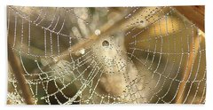 Beach Towel featuring the photograph Web Of Jewels by Penny Meyers