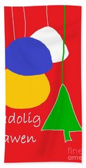 Welsh Christmas Card Beach Sheet by Barbara Moignard