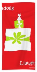 Welsh Merry Christmas Red Beach Towel by Barbara Moignard