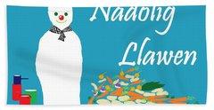 Welsh Snowman Chef Beach Sheet by Barbara Moignard