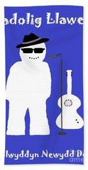 Welsh Snowman Musician Beach Sheet by Barbara Moignard