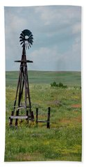Western Kansas Windmill Beach Towel