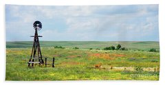 Western Kansas Wooden Windmill  Beach Towel