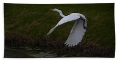 White Egret Beach Towel