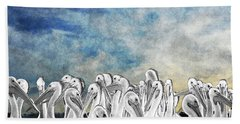 White Pelicans In Group Beach Towel by Dan Friend
