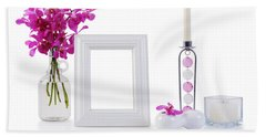 White Picture Frame In Decoration Beach Towel