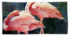 Who's Peek'n - Flamingos Beach Towel